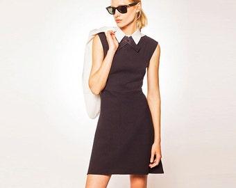 30% SALE, Black Dress with White Collar, Black Dress White Collar, Black Dress, White Collar Dress, Black and White Dress, Black White Dress