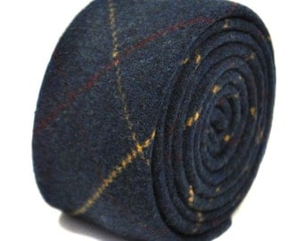 navy blue, red and gold checked 100% tweed wool tie by Frederick Thomas FT2141