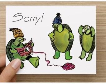 Greeting Card, Belated Birthday, Knitting Turtles, Sorry