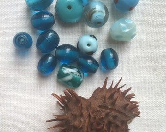 Vintage Murano Glass Beads/Blue Beads/Translucent Beads/Lampwork Beads/Matted Beads