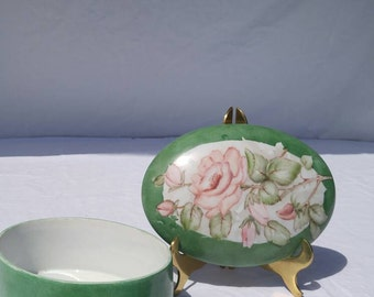 Antique handpainted porcelain box, green with roses
