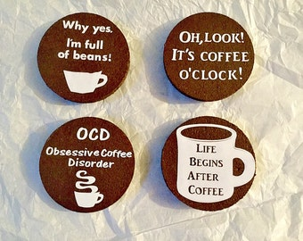 Coffee Lover's Cork Magnets