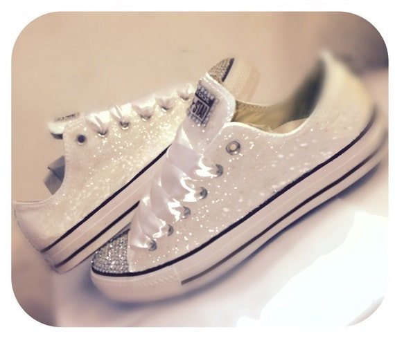s converse all sparkly white chucks by