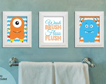 Monster Bathroom - 8x10 difital files - Wash Brush Floss Flush - boy or girl bathroom - Kids bathroom - Little Monsters