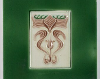 Antique English Art Nouveau H.A. Ollivant tile c.1904