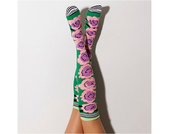 Peonies Knee High Patterned Socks, PM-123