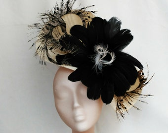 Black and white fascinator, White ascot hat, Black races hat,Black and white hats,Wedding hat,Black fascinators,White derby hat,Feather hat