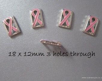 Pink Awareness Beads & Charms 6 Designs Pink Hearts Ribbons Crystals