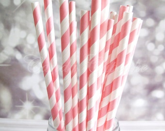 PINK STRIPE STRAWS, 25 Paper Straws With Hot Pink & White Stripes