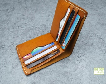 leather wallet purse/ folded vegetable tanned leather wallet purse card holder