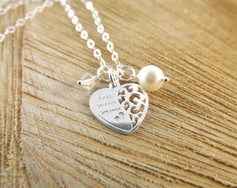 Sterling silver best friend necklace, silver friendship pendant, BFF heart charm necklace