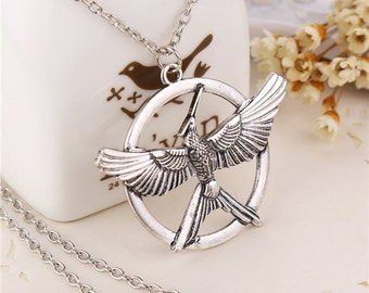 Mockingjay Necklace, Hunger Games Necklace, Hunger Games Jewelry, Bird Pendant Necklace, The Hunger Games Logo Necklace.