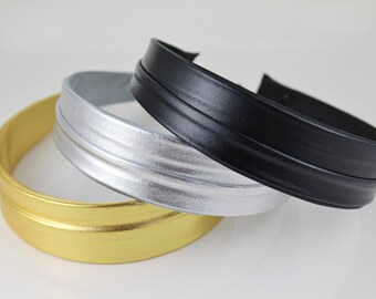 """Gold, Silver or Black faux leather headband fabric covered hair band accessory head band 1.25"""" wide"""