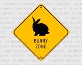 "Rex Bunny Zone; pet rabbit novelty sign, aluminum, 6"", glossy black on caution yellow"