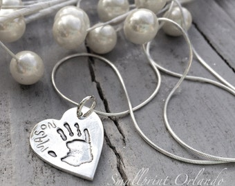 Handprint Pendant - Personalized Jewelry - Womens Necklace - Baby hand print Jewelry - child memorial jewelry - infant loss  silver necklace