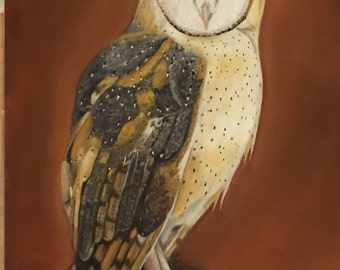 """Gorgeous 8"""" x 10"""" barn owl art print of an original pastel painting by Tracy Stone"""