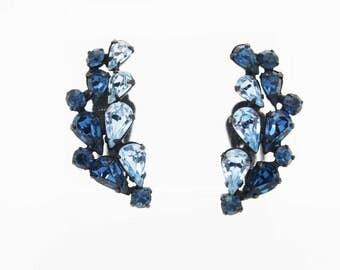 Wonderful Vintage Japanned Clip Earrings with Light & Dark Blue Rhinestones