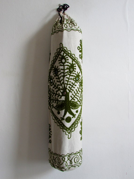 Yoga Mat Bag Pilates Mat Bag handmade White and Olive Green Peacock with mirror design free UK delivery (b13)