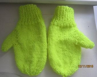Childs Handknit  Neon Green Mittens size 6-8