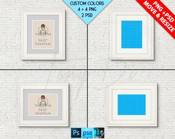 9x12 #W01 White Portrait & Landscape Frames on Brick Interior wall, Double mat, PNG frame, Opening 23x30cm, Custom colors, PS PSE