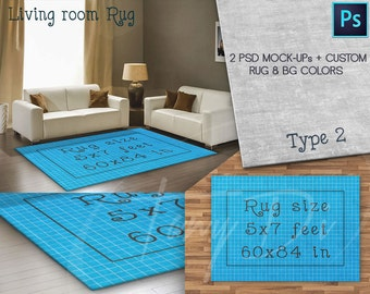 Rug area 5x7 ft Living Room, Rug 60x84in, Plush rug surface, Rug Display Mockups PSD users only, Custom rug and background colors, 152x214cm