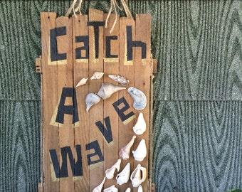 rustic 'Catch A Wave' mosaic natural seashell art/ surf art/ ocean art