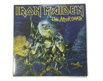 "Iron Maiden, ""Live After Death"", vinyl record album, classic rock LP, 1980s, metal, live, bruce dickinson, trooper, 2 minutes to midnight"
