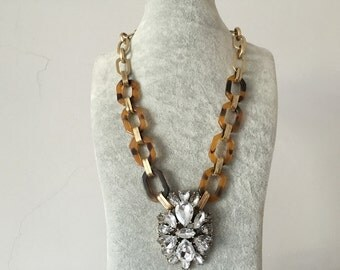 Tortoise and Crystal Pendant Necklace