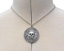 Aztec Skull Pirates Of the Caribbean Necklace Antique Silver Nickel Free - Choose Chain Length