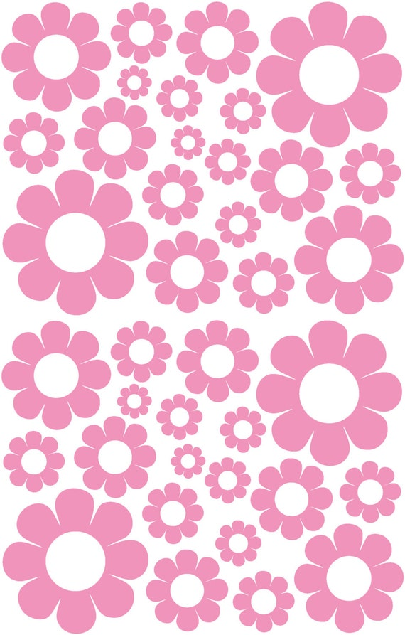 38 Soft Pink Daisy Vinyl Shaped Bedroom Wall Decals Stickers Daisies Teen Kids Baby Nursery Dorm Room Removable Custom Made Easy to Install