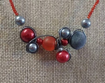 Scarlet and gray necklace