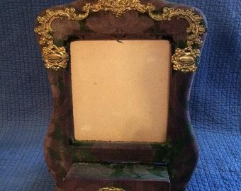 Antique Velvet Photo Frame/Wedding Keepsake Frame