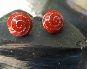 Vintage red and girl swirl earings