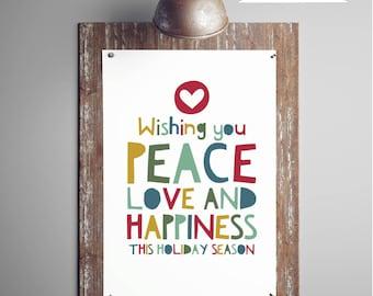 Peace Love Happiness, Christmas Printable Wall Art, Modern Christmas Decor, Holiday Printable Christmas Wall Art, Instant Download