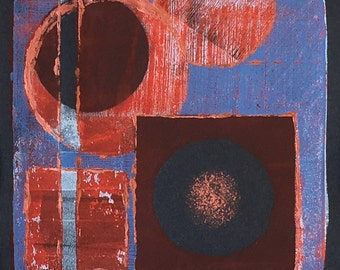 Original 3 colour monotype print - Cosmos II