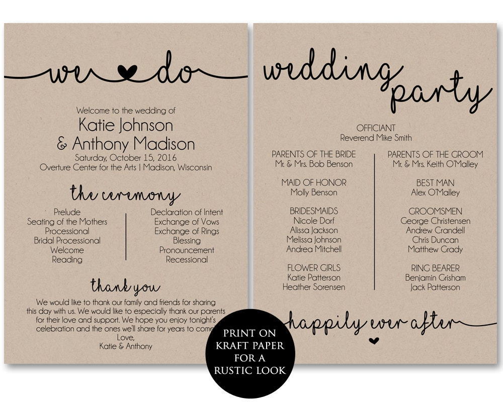 Ceremony program template printable wedding programs for Free wedding program templates