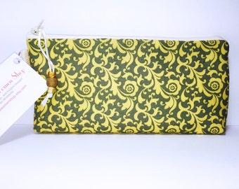 Yellow Swirl WET BAG Cosmetic Bag Reusable Feminine Pads Makeup Bag, Project Bag, Pencil Case, Waterproof PUL Diaper Bag