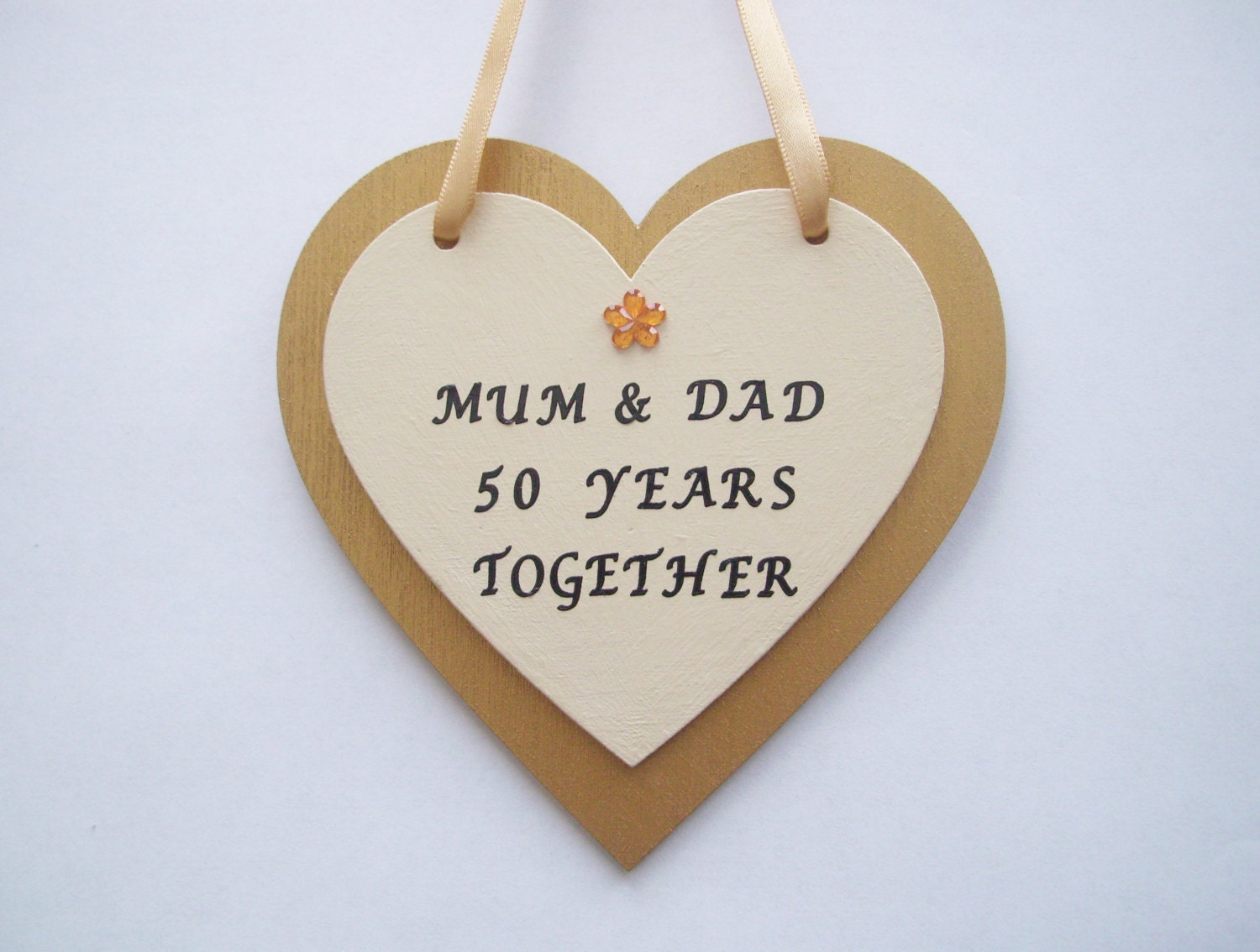 Fiftieth Wedding Anniversary Gifts: Personalised 50th Golden Wedding Anniversary Gift. Wooden