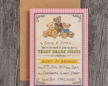 Ready to Write Teddy Bears Picnic Birthday Party Christening Baptism Baby Shower Invitations Pack of 10