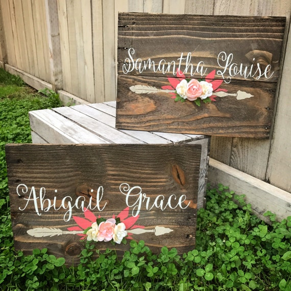 Rustic nursery name arrow and flowers by wehuntwooddecor for Signs for little girl rooms