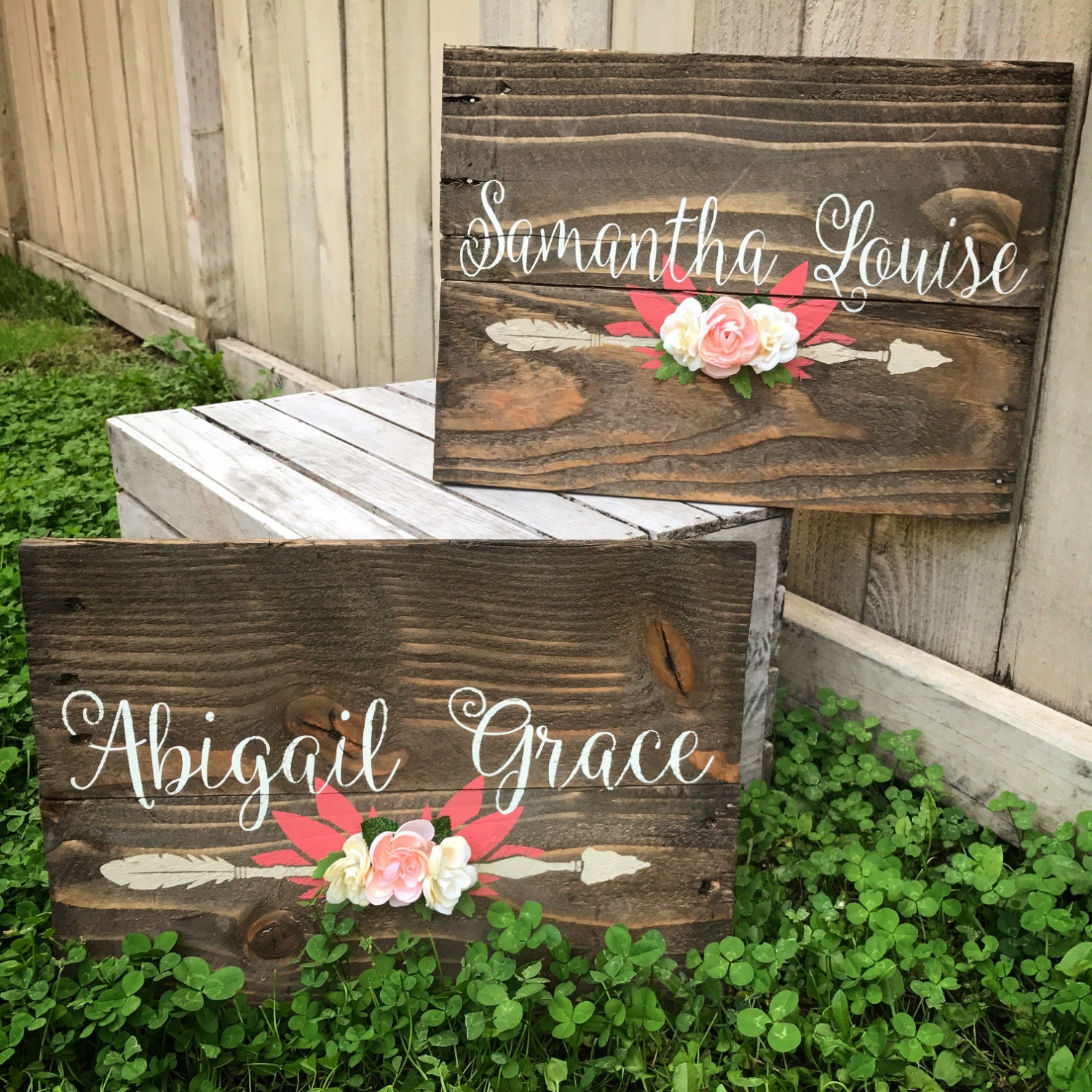 Rustic Nursery Name Arrow And Flowers Personalized Reclaimed