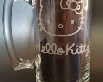 Hello Kitty Sand Carved Glass Mug 26.5oz