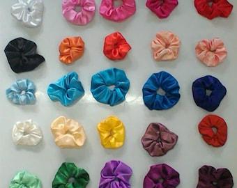Satin Hair Scrunchies -Ponytail Holder Hair Accessories - Choose your shade of scrunchie hair band