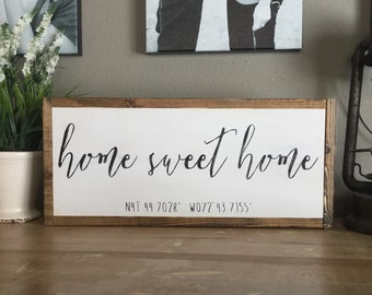 "Custom Coordinates ""Home Sweet Home"""