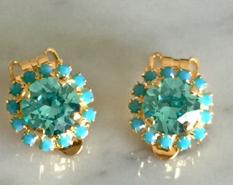 Swarovski Light Turquoise Clip On Earrings, Swarovski Turquoise Clip On Earrings, Light Turquoise Crystal Clip On Earrings