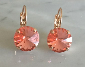 Rose Peach Crystal Earrings, Swarovski Rose Peach Earrings, Swarovski Peach Earrings