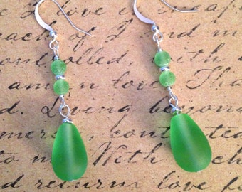 Apple Green Sea Glass Dangles