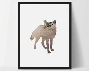 Fox Silhouette Wild Life, Wall Art, Artwork, Home Decor, Modern Print, Print Art, Abstract Art, Black White, Decorations, Digital Print