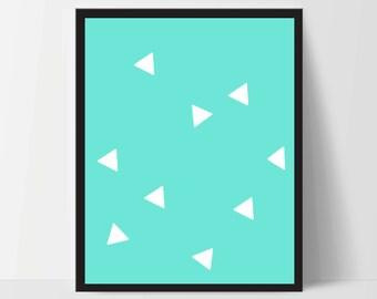 Triangle Wall Print, Aqua White, Artwork, Home Decor, Modern Contemporary, Print Art, Instant Download, Boho, Nursery, Baby, Digital