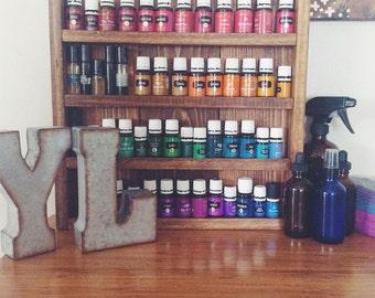 Rustic essential oils shelf